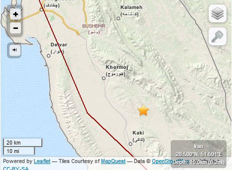 278615 266 موقعیت زمین لرزه بوشهر/ عكس