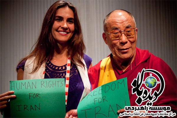 HH Dalai Lama and Nazanin Afshin Jam نازنین افشین جم دوست دختر سابق ربع پهلوی/عکس