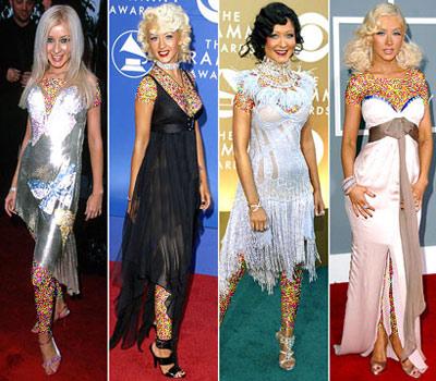 mo7152 مقایسه لباس ستاره های هالیوودی در 4 مراسم GRAMMY/عکس