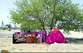 چادرنشینی خانواده بیپول در بهشت زهرا/عکس