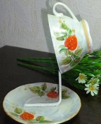 hou5904 آموزش تزیین فنجان و نعلبکی با گل