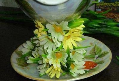 hou5907 آموزش تزیین فنجان و نعلبکی با گل
