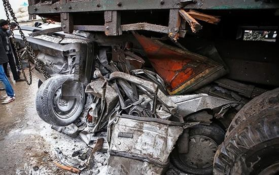 bn6 له شدن وحشتناک خودروها در تصادف جاده قم / عکس