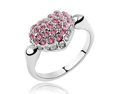 18KGP white gold Austria swrski heart rings women s birthday gift valentine 3 color option مدل انگشتر با نگین صورتی 2014