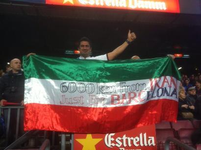 پرچم ایران در بازی دیشب بارسا