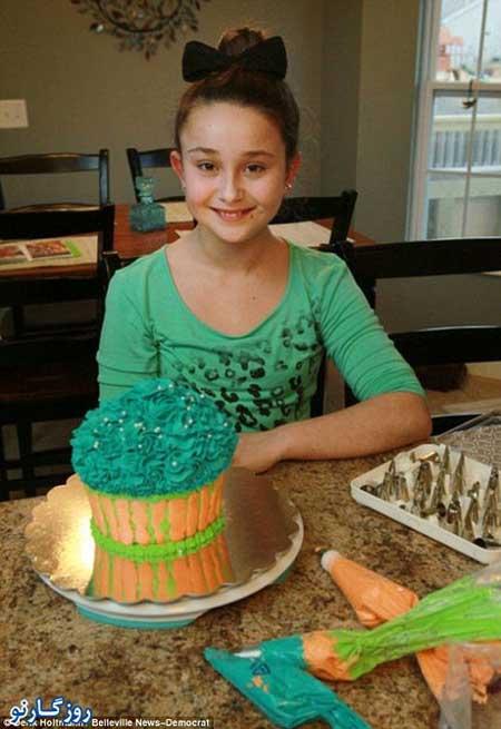 fn92 11 215 مشهور و پولدار شدن دختر 11 ساله با کیک تولد / عکس