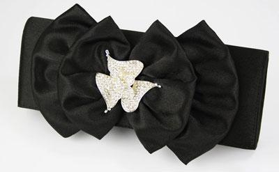ladies black diamante flower satin party clutch evening bag 14867 p مدل کیف دستی مجلسی مشکی ۲۰۱۴