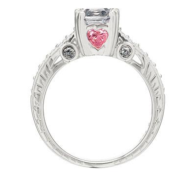 shayla s engagement ring asscher cut cz pink heart czs engagement rings مدل انگشتر با نگین صورتی 2014