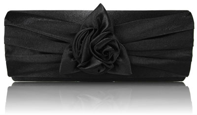 womens designer handbags ladies black satin rose evening party clutch handbag 12618 p مدل کیف دستی مجلسی مشکی ۲۰۱۴