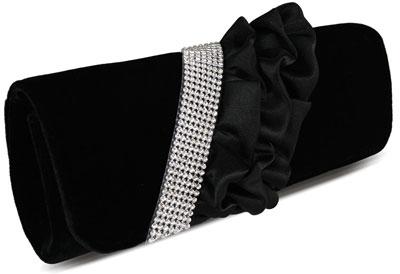 womens designer handbags ladies black velvet ruffle diamante evening party clutch handbag 12503 p مدل کیف دستی مجلسی مشکی ۲۰۱۴