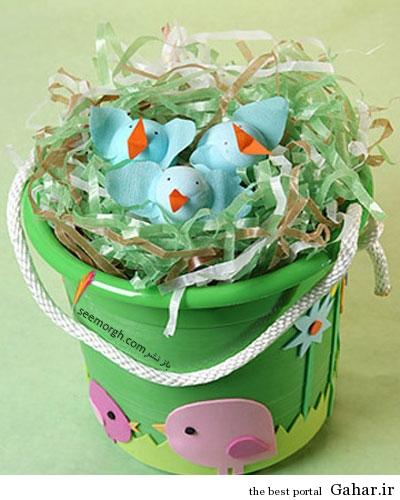 1134 craft birds xl تزئین تخم مرغ در سبد برای نوروز امسال