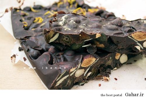 1 chocolate bark recipe شکلات تلخ تخته ای با دانه چیا