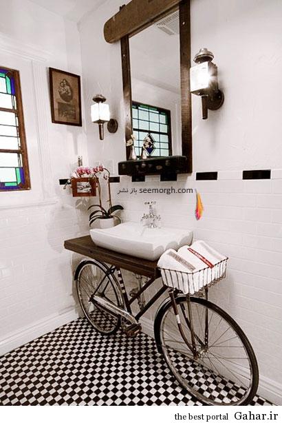 1 bikesink02 تزئین حمام با دوچرخه های فرسوده