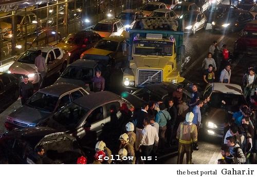 635327393626592676 تصادف طولانی ۱۲ خودرو در میدان توحید تهران / عکس