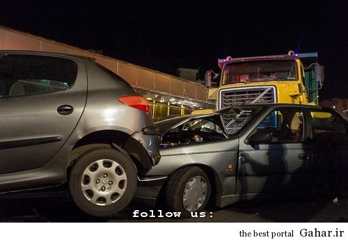 635327393991966898 تصادف طولانی ۱۲ خودرو در میدان توحید تهران / عکس
