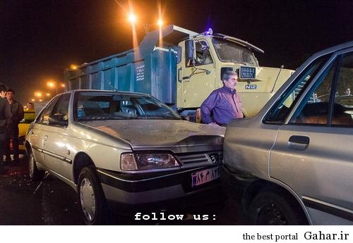 635327394104498540 تصادف طولانی ۱۲ خودرو در میدان توحید تهران / عکس