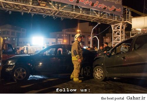 635327394410765405 تصادف طولانی ۱۲ خودرو در میدان توحید تهران / عکس