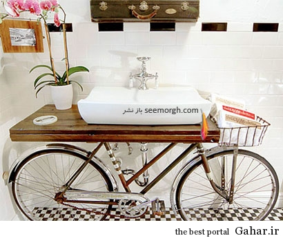 bikesink03 تزئین حمام با دوچرخه های فرسوده