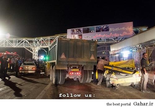 tasadof meydane tohid تصادف طولانی ۱۲ خودرو در میدان توحید تهران / عکس