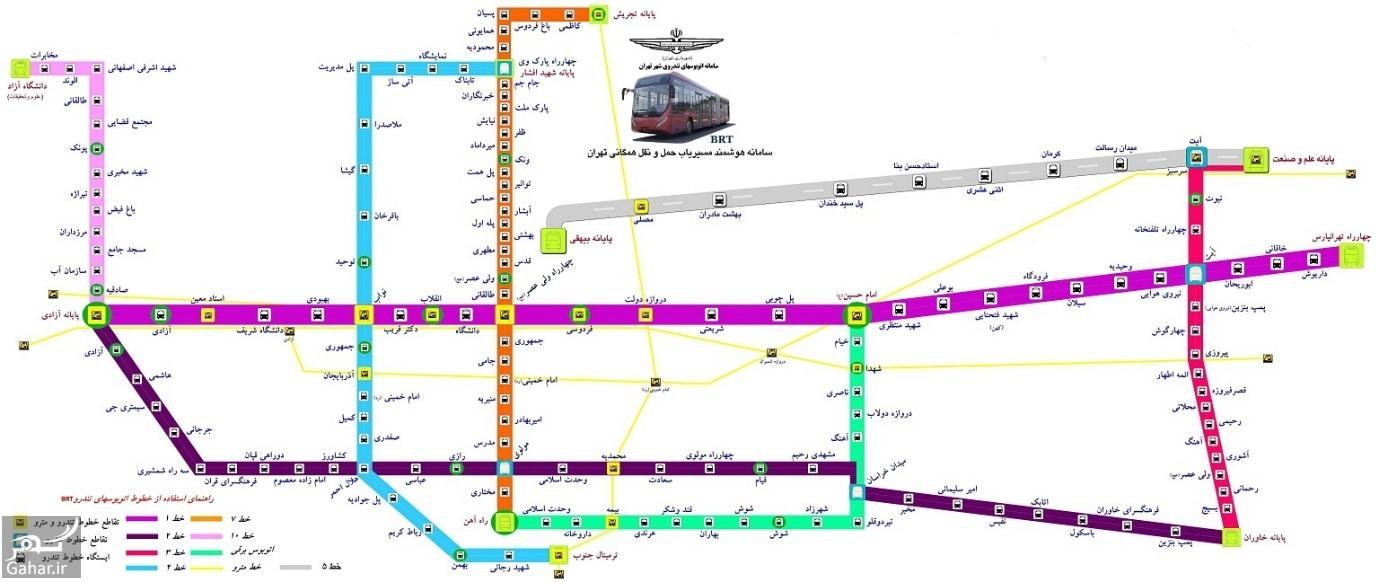 101 نقشه خطوط اتوبوس های BRT + اسامی ایستگاه ها