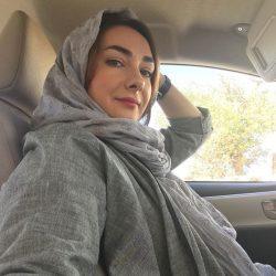 عکس هانیه توسلی با تاج گل صورتی
