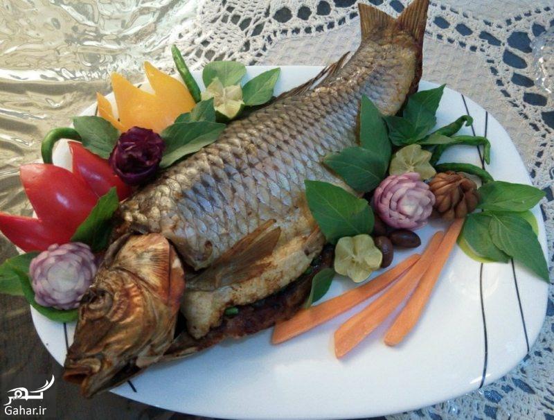 Stuffed fish decorated دستور تهیه ماهی شکم پر