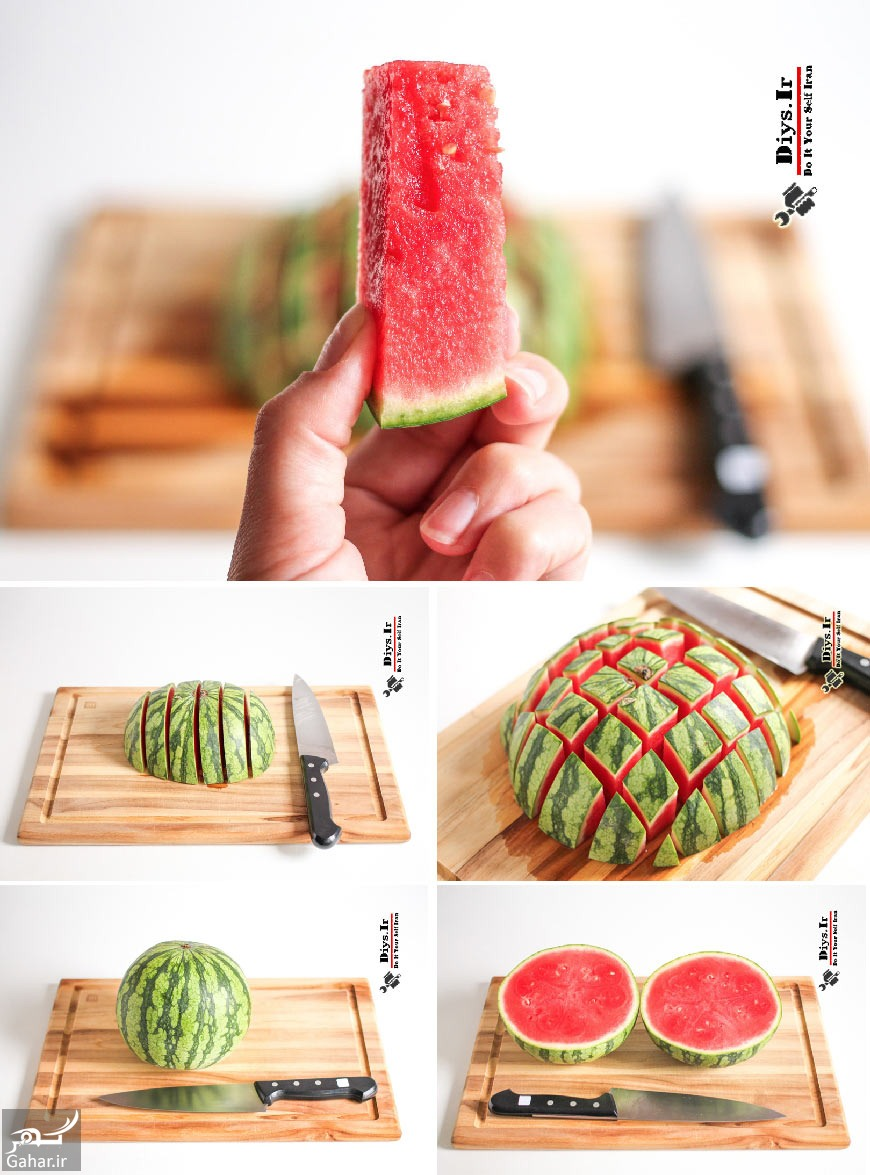 a the best way to cut a melon طریقه صحیح برش زدن میوه ها