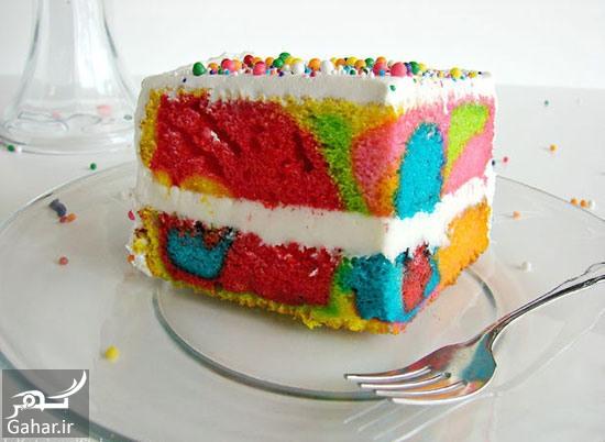 کیک رنگین کمانی طرز تهیه کیک رنگین کمانی برای جشن تولد