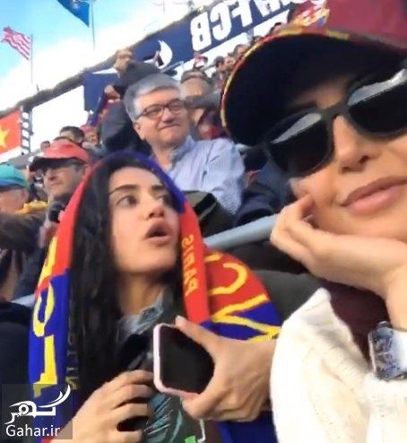 ELNAZ ELIKA عکس الناز شاکردوست و خواهرش الیکا در ورزشگاه نیوکمپ