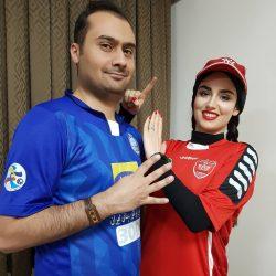 عکسهای جالب هانیه غلامی و همسرش به مناسبت برگزاری دربی