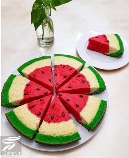 2333 طرز تهیه کیک هندوانه تابه ای
