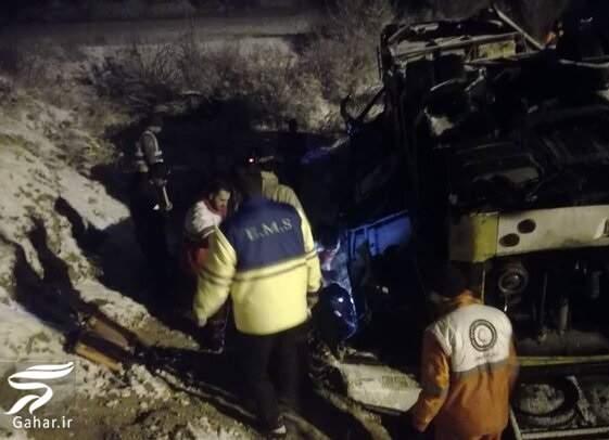 soghoot otoboos 43 کشته و زخمی در اثر واژگونی اتوبوس تهران گنبد