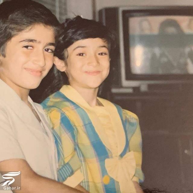 عکس کودکی بهاره افشاری و برادرش و کپشن جالب و خنده دار او, جدید 1400 -گهر