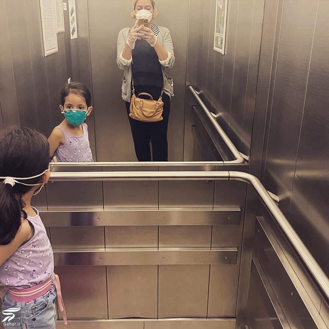92953197 661265978046758 5870274044996346530 n سلفی جالب مهناز افشار و دخترش در آسانسور در روزهای کرونایی